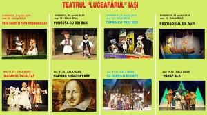 Spectacolele lunii aprilie teatrul Lucrafărul Iași bilete online