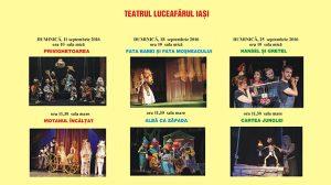 Teatrul Luceafarul, spectacolele lunii septembrie2016