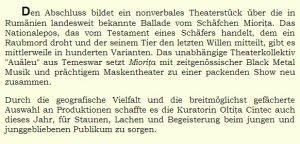 Despre cea de-a XI-a editie a Festivalului International de Teatru pentru Publicul Tanar Iasi a scris Irina Wolf tocmai in Austria!