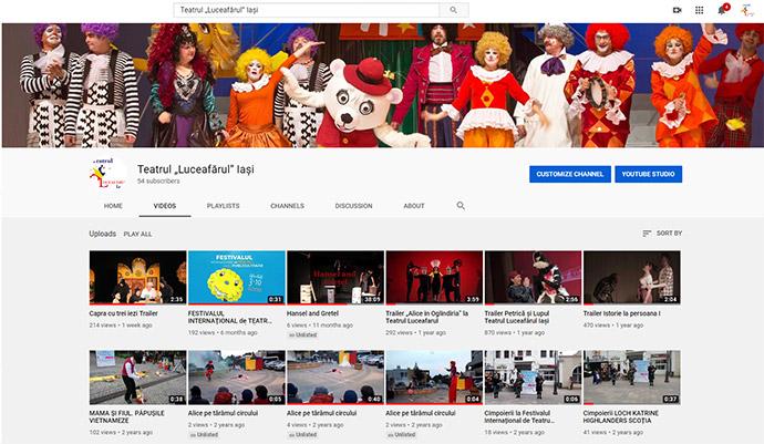 """canalul youtube.com al Teatrului """"Luceafărul"""" Iași:"""